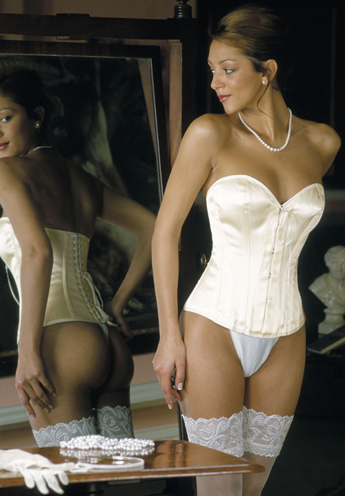 Low Backed Ivory Satin Overbust Bridal Corset 12 5 Front
