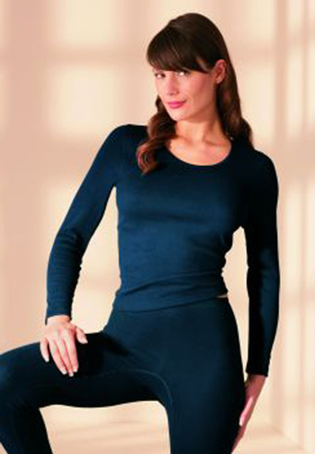 Natural Fibre Long Sleeved Thermal Top with Angora